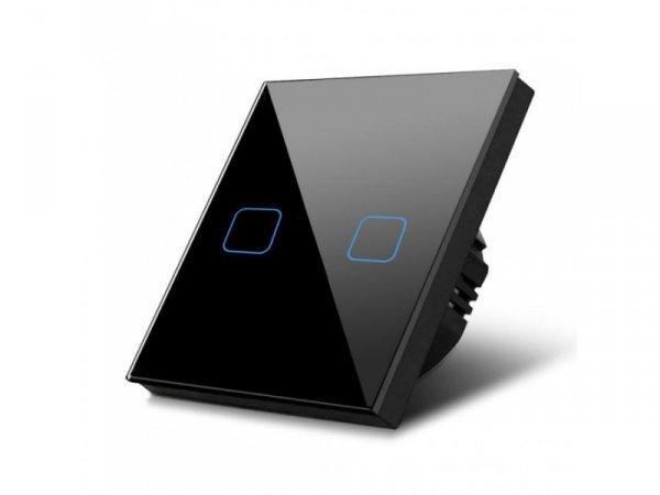 Włącznik dotykowy światła Maclean MCE703B podwójny, szklany, czarny z kwadratowym przyciskiem wymiary 86x86mm, z podświetleniem