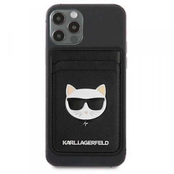 Karl Lagerfeld wsuwka na karty KLWMSCHSFBK czarna Saffiano Choupette Head MagSafe