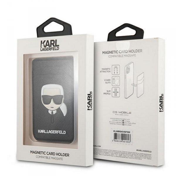 Karl Lagerfeld wsuwka na karty KLWMSCHSFBK czarna Saffiano Karl`s Head MagSafe