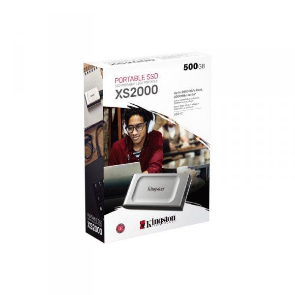 Kingston dysk SSD 500GB USB 3.2 Gen2.2 srebrny