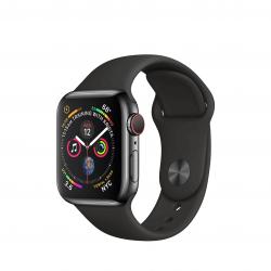 Apple Watch Series 4 / GPS + LTE / Koperta 40mm ze stali nierdzewnej w kolorze gwiezdnej czerni / Pasek sportowy w kolorze czarnym