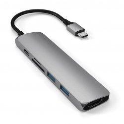 Satechi USB-C Slim Multiport V2 HUB - USB 3.0 / HDMI / USB-C(PD) / microSD / SD / Space Gray (gwiezdna szarość)