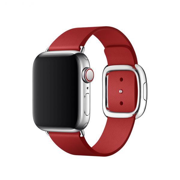 Apple pasek z klamrą nowoczesną w kolorze (PRODUCT)RED do Apple Watch 38/40 mm - Rozmiar M