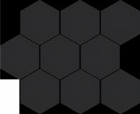 Cerrad Cambia Black Lappato Mozaika Heksagon 27,53x33,4