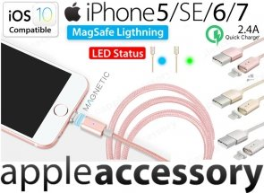 Magnetyczny Kabel USB Lightning LED do Apple iPhone 5/6/7 iPad Air/Pro iOS10