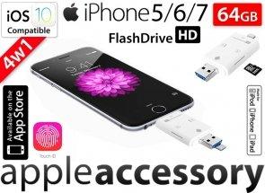 Pamięć FlashDrive do iPhone 5 6 7 64GB SD Reader