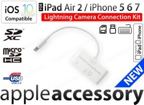 iPad Air Pro iPhone Camera Connection Kit USB SD Lightning iOS10