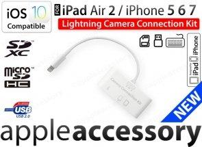 iPad Air Pro iPhone Camera Connection Kit USB SD Lightning iOS10