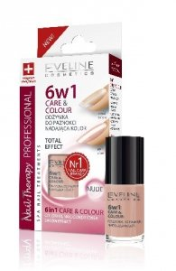 Eveline Nail Therapy Lakier odzywka 6w1 Care & Colour Nude  5ml