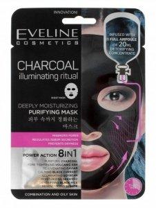 Eveline Sheet Mask Charcoal Maska na tkaninie 8in1 oczyszczająca  1szt
