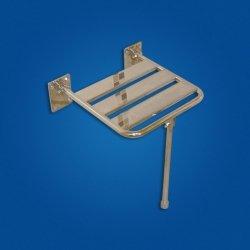 Krzesełko Prysznicowe Uchylne (2) z nogą stal nierdzewna fi25