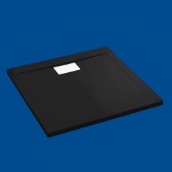 Brodzik posadzkowy najazdowy dla osób starszych i niepełnosprawnych czarny akrylowy 100x90
