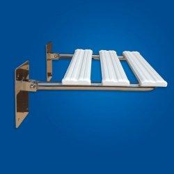 Krzesełko Prysznicowe Uchylne (2) stal nierdzewna, ciepłe siedzisko ABS dla niepełnosprawnych