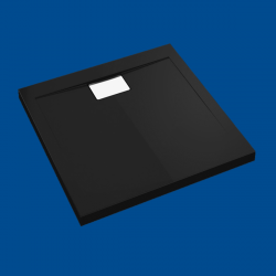 Brodzik posadzkowy najazdowy dla osób starszych i niepełnosprawnych czarny akrylowy 80x80
