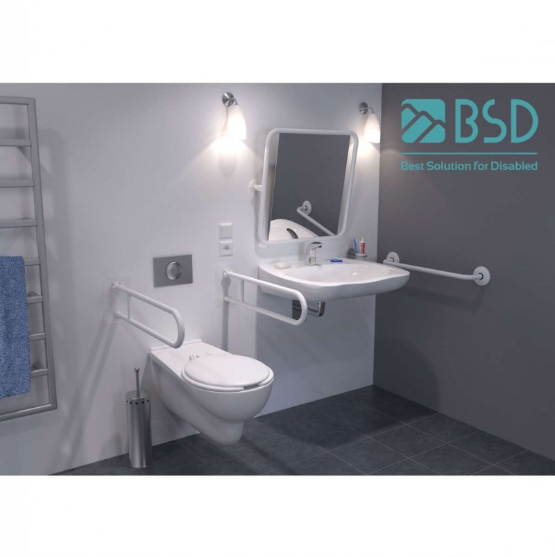Uchwyt Umywalkowy dla Niepełnosprawnych 70cm biały fi32 + MASKOWNICE