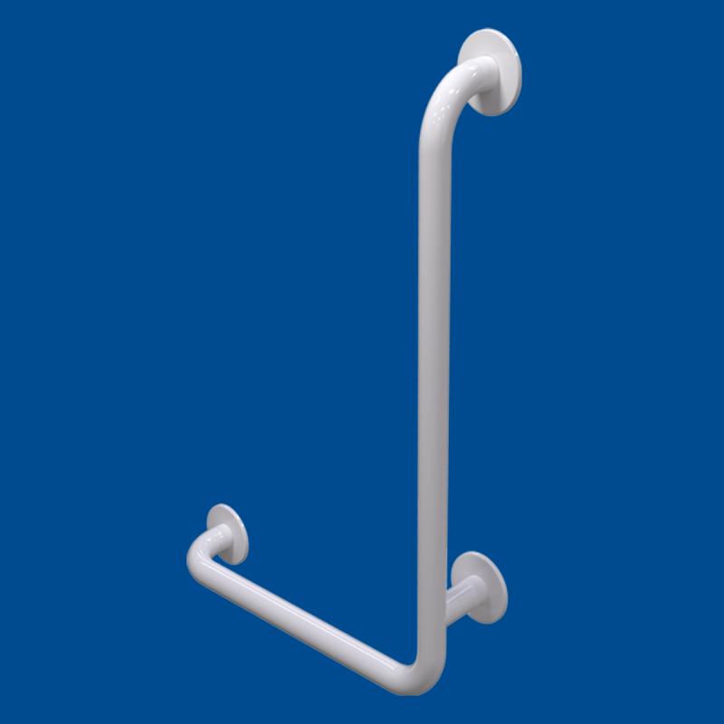 Uchwyt Kątowy dla Niepełnosprawnych prawy 80/40cm biały fi32 + MASKOWNICE