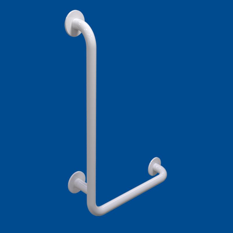 Uchwyt Kątowy dla Niepełnosprawnych lewy 100/40cm biały fi32 + MASKOWNICE