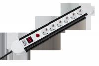 Listwa sieciowa KEMOT 6 gniazd typu niemieckiego, kabel 5m (3x1,5mm)