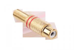 Gniazdo RCA złote 2 paski na kabel czerwone