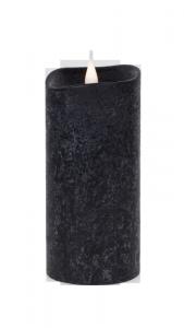 Świeca woskowa LED średnia rustic black