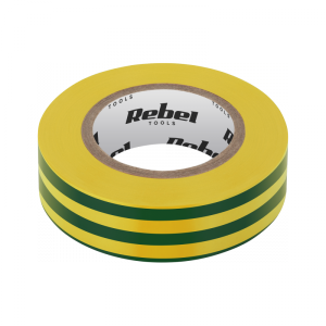Taśma izolacyjna klejąca REBEL (0,13 mm x 19 mm x 10 yd) żółto-zielona