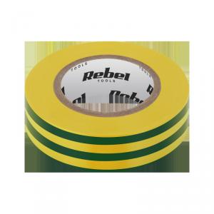 Taśma izolacyjna klejąca REBEL (0,13 mm x 19 mm x 20 yd) żółto-zielona
