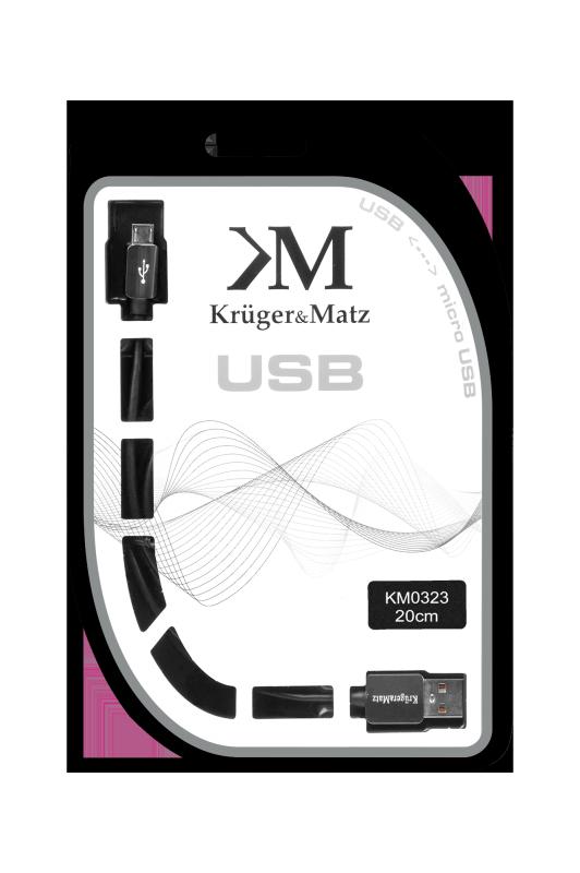Kabel USB - micro USB wtyk-wtyk 0.2m Kruger&Matz