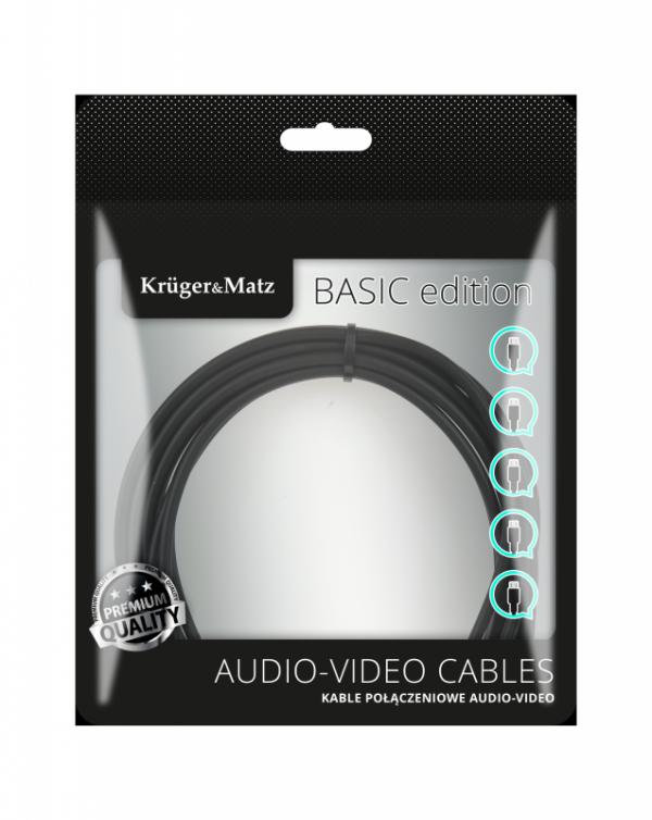 Kabel jack 3.5 wtyk stereo - 2RCA 3m Kruger&Matz Basic