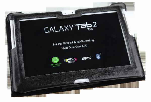 Etui czarne dedykowane do Samsung Galaxy Tab P5100 (skóra naturalna)