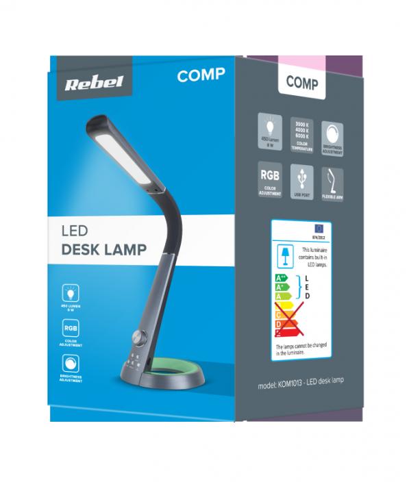 Lampa LED Rebel na biurko ze zmiana temperatury barwowej światła i gniazdem USB