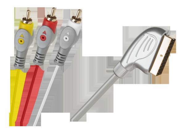 Kabel Euro-3RCA 1.5m srebrny łezka blister