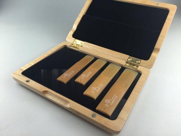 Pudełko na stroiki do saksofonu sopran/alt/tenor (6 szt.), drewno klonowe, Forestone