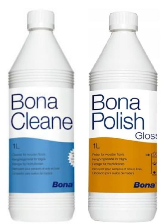 Zestaw do podłóg lakierowanych Bona Cleaner 1 L + Bona Polish Gloss 1 L