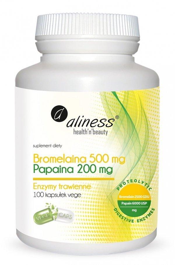 Bromelaina 500mg, Papaina 200 mg x 100 VEGE caps Aliness