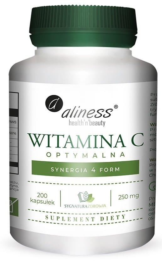 Aliness Witamina C optymalna 250 mg, 200 vege caps