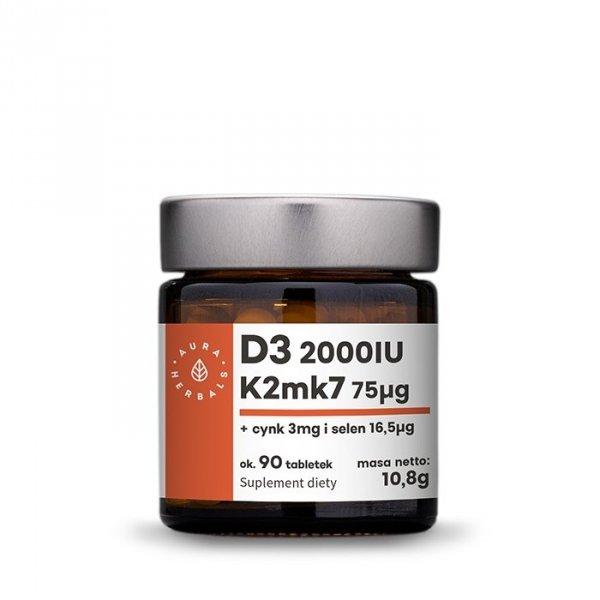 Witamina D3 (2000IU) + K2mk7 + Cynk + Selen - tabletki  - 90 szt. Aura Herbals