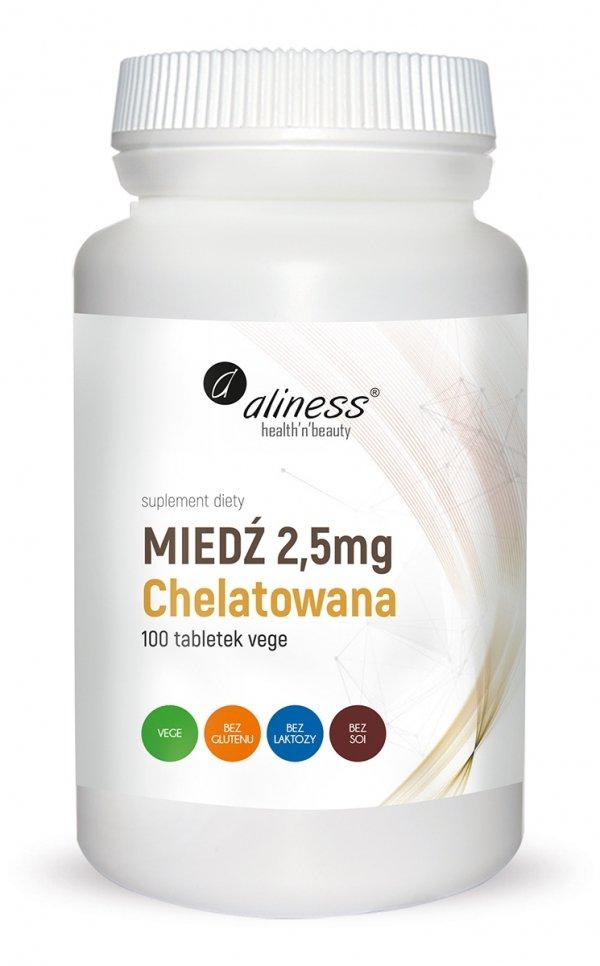 Miedź chelatowana 2,5 mg x 100 Vege tabs Aliness