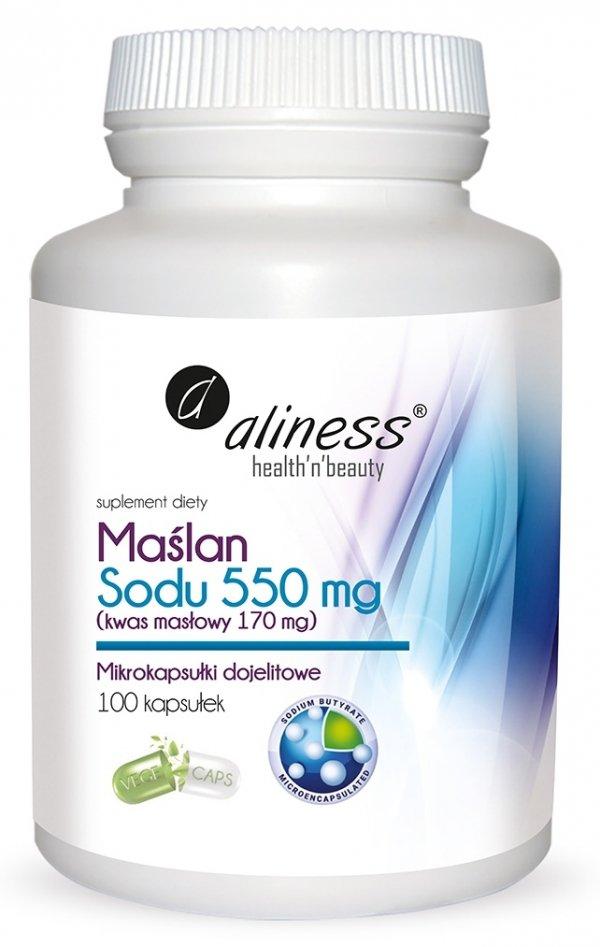 Maślan Sodu 550 mg (Kwas masłowy 170 mg) x 100 VEGE kaps. Aliness
