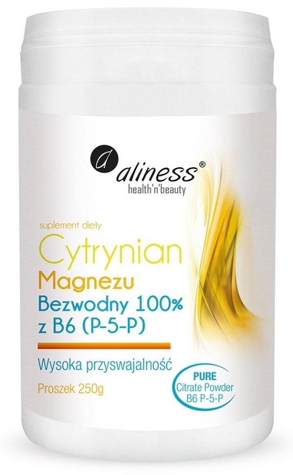 Aliness Cytrynian Magnezu BEZWODNY 100% z B6 (P-5-P) PROSZEK 250g