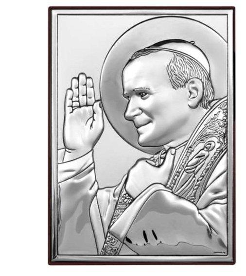 Święty Jan Paweł II Papież GRAWER SREBRNY OBRAZEK