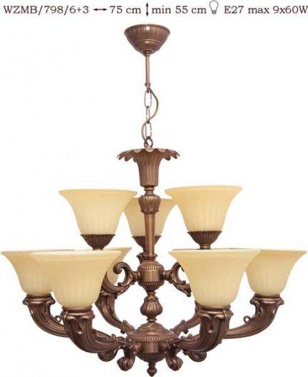 Żyrandol mosiężny JBT Stylowe Lampy WZMB/798/6+3