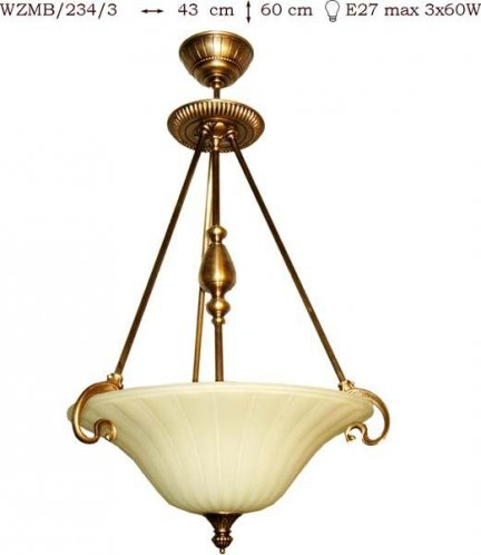 Żyrandol mosiężny JBT Stylowe Lampy WZMB/234/3