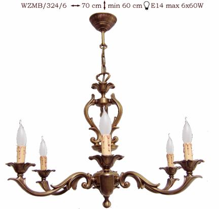 Żyrandol mosiężny JBT Stylowe Lampy WZMB/324/6