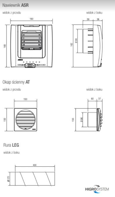 Nawiewnik ścienny ASR.LEG.930 sterowany ręcznie