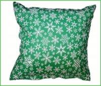 Poszewka na jasiek wz. Śnieżynki zielone, rozmiar 40x40 100% bawełna ŚWIĄTECZNE WZORY