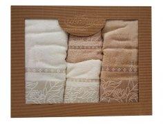 Komplet ręczników czteroczęściowy  BAMBOO Eleonora 2x 50x90 + 2x 70x140 ecru+beż