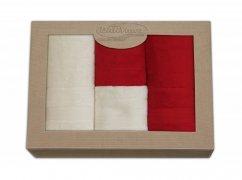 Komplet ręczników czteroczęściowy  Moreno 2x 50x90 + 2x 70x140 Krem - Czerwień
