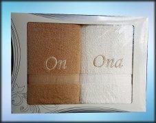 Komplet ręczników On i Ona kolor beż/biały