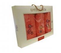 Trzyczęściowy komplet ręczników Banan w pudełku - 5299 - Róż łososiowy