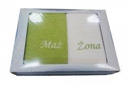 Komplet ręczników Mąż i Żona kolor limonka-ecru